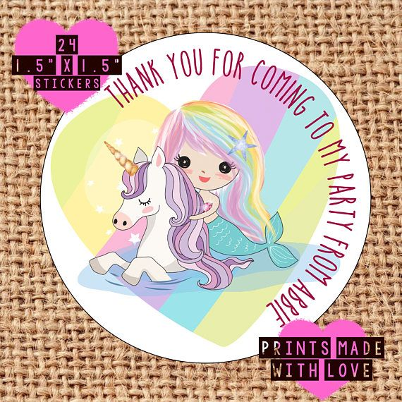 Happy Party Unicorn Sticker Labels for Party Bag Sweet Cones