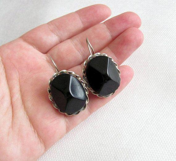 c9999b38e 50s -60s rarity Vintage womens earrings For pierced ears Vintage jewelry  Black Silver Copper Retro CHUNKY earrings Unique Gift Buy on Etsy