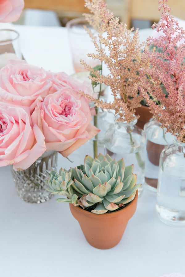 Succulents, astilbe and roses! http://www.stylemepretty.com/living/2015/09/10/girly-california-baby-shower/ | Photography: One Eleven - http://oneelevenphotography.com/