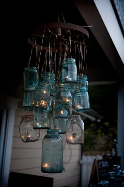 tweedsandtales: Mood Lighting ~ Hanging Mason Jars with Candles in Them - Love This!