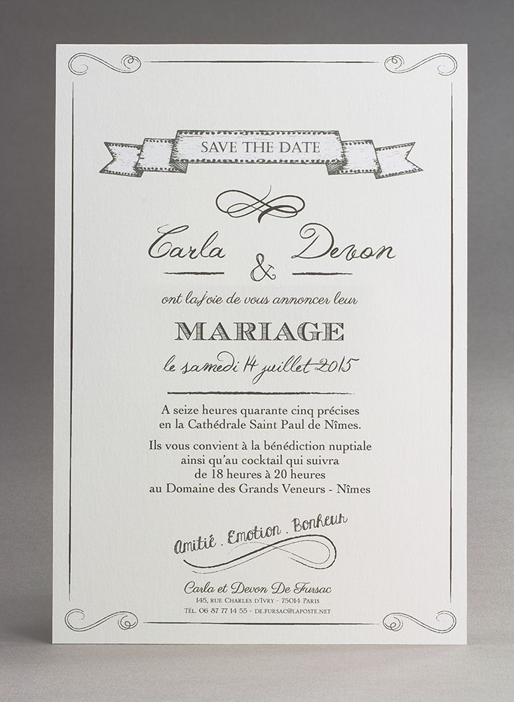Assez 23 best Invitation au mariage images on Pinterest | Marriage  AY19