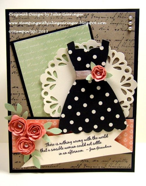 Stamping with Julie Gearinger: Stampin' Up! Sensible Woman in a Polka Dress for the FMS100 and SR190 Challenges :-)