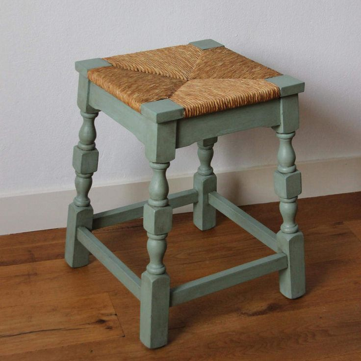 Vintage wooden stool with wicker reed seat ; pimped in blue shabby chic style door KijkMaris op Etsy