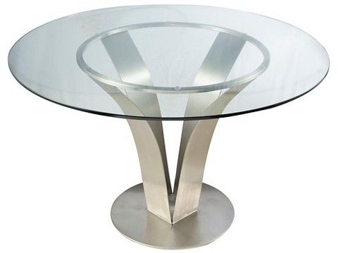 Armen Living Cleo Contemporary Dining Table Stainless Steel/Clear Glass