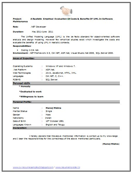 fresher resume sample  page 2