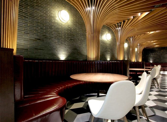 New Trendy Restaurant & Bar by CAA interior decor traditional chinese bamboo weaving