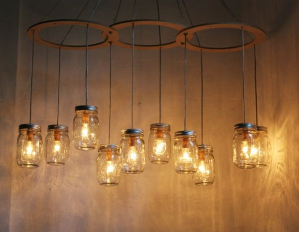 Suspension bocaux conserves mason jar luminaires for Suspension originale pour cuisine