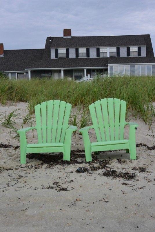 Зеленые стулья Кейп Кода и белый невоспитанный щенок: irinadob550