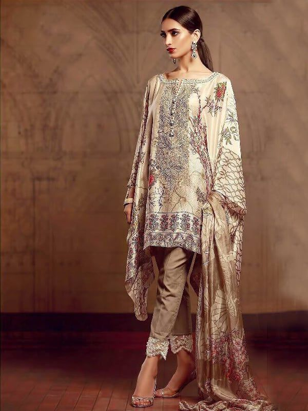 e9b88948fe Embroidered Pashmina Pakistani Short Kameez Suit in Cream | Ready to ...