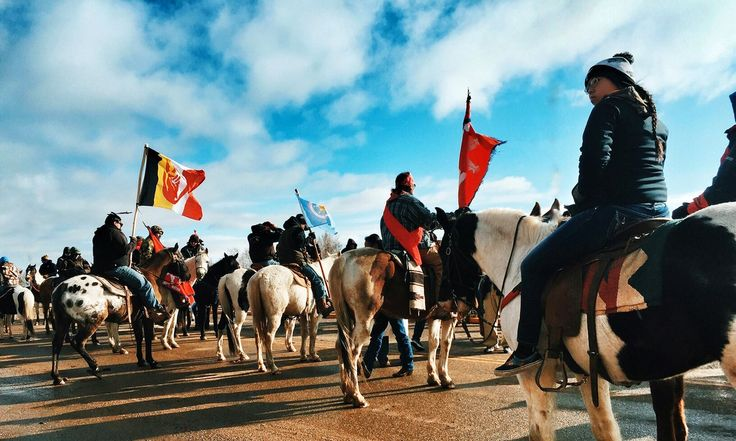 About 200 people rode on horseback to protest against pipeline that encroaches on tribal lands and could pollute Missouri river: 'We're looking out for all people'