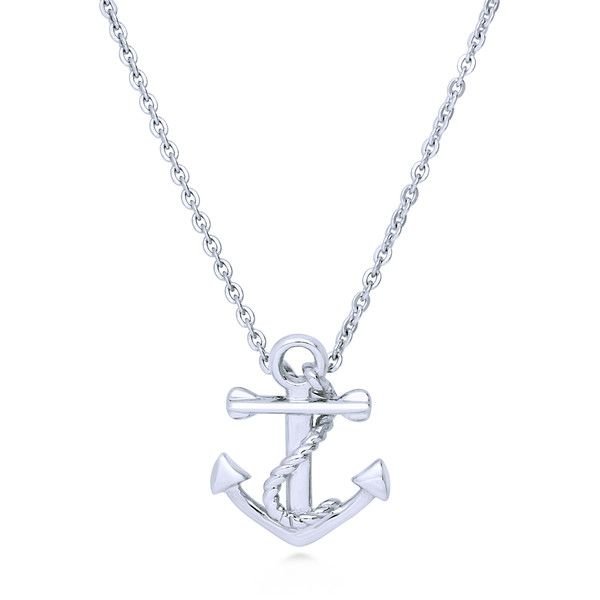 BERRICLE Sterling Silver Anchor Fashion Statement Pendant Necklace ($40) ❤ liked on Polyvore featuring jewelry, necklaces, pendant necklace, women's accessories, anchor charm, sterling silver charms pendants, sterling silver anchor charm, chain necklaces and sterling silver pendants