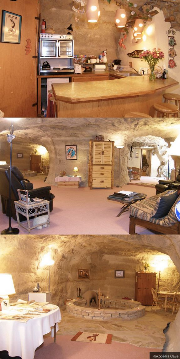 The Kokopelli's Cave B&B in New Mexico is an underground cave hotel built into the vertical cliff of Tertiary Ojo, 70-feet below the surface of the earth.