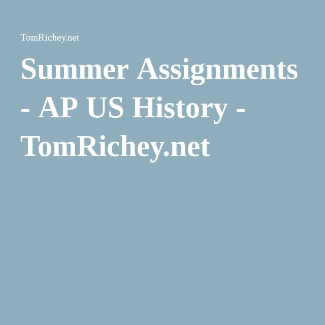 Us history assignments