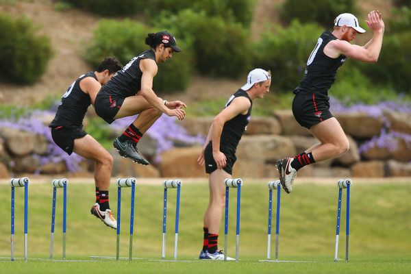 Week 6: Something that I think I take most for granted, is my health. Not everyone is born healthy, with full function of all of their body. I definitely take for granted the fact that I am gifted with the ability to actually take part in the sports that I love.   Bombers players jump over hurdles during an Essendon Bomber AFL pre-season training session at True Value Solar Centre on November 7, 2016 in Melbourne, Australia.