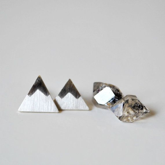 Mountain Post Earrings Peaks Sterling Silver by TheAngryWeather