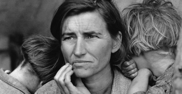 Dorothea Lange Dust Bowl | Florence Owens Thompson, 32, a poverty-stricken migrant mother with ...