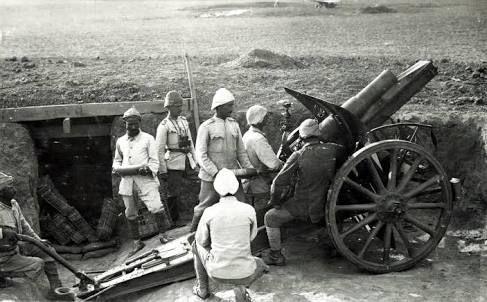 Filistin Cephesinde mevzilenen obüs, 1917.
