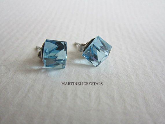 Aqua Blue Crystal Cube Swarovski Crystal Stud by MARTINELICRYSTALS