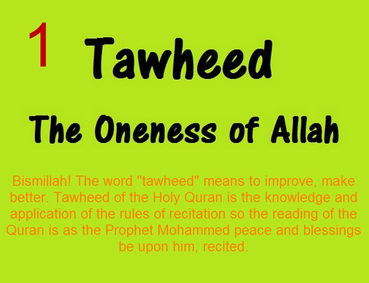 "Bismillah! The word ""tajweed"" means to improve, make better. Tajweed of the Holy Quran is the knowledge and application of the rules of recitation so the reading of the Quran is as the Prophet Mohammed peace and blessings be upon him, recited."