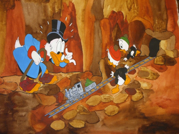 "Uncle Scrooge watercolor painting from ""A Christmas For Shacktown"""