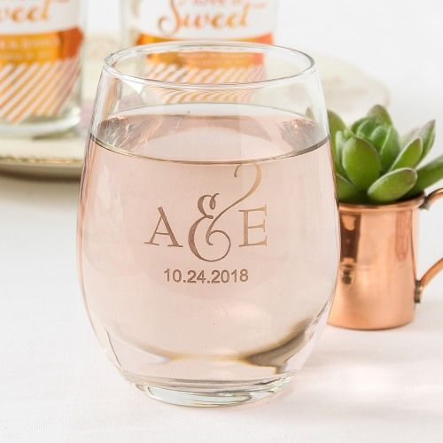 Personalized 9 Oz Stemless Wine Gl Wedding Pinterest Favors And Bridal Shower