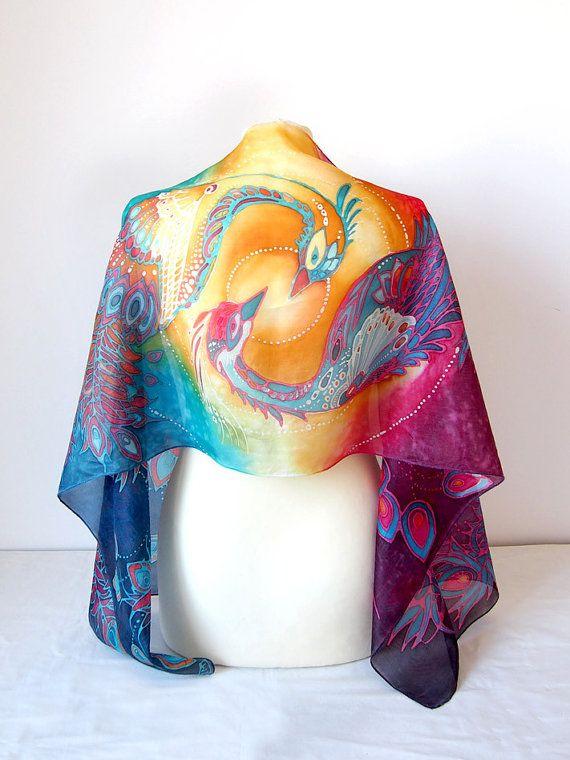 Phoenix sjaal  zijden sjaal phoenix  yin yang sjaal  door MinkuLUL