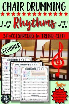 """This Chair Drumming Rhythms product helps students master the note names of the treble clef by assigning movements/actions to each note on the staff. For example: E = stomp, G = pat legs, B = clap hands, D = snap fingers, and F = shout """"hey"""" and raise hands. It's a great energizer, increases gross motor coordination, and supports students' learning of the note names!"""