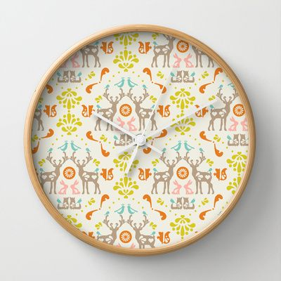 © www.patternpenny.com medallion folklore Wall Clock/ society6.com