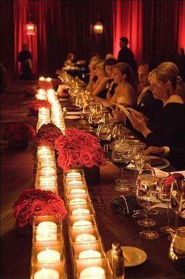 Stunning: Party Wedding, Wedding Ideas, Parties, Weddings, Red Flowers, Candles, Centerpieces, Head Tables, Long Tables