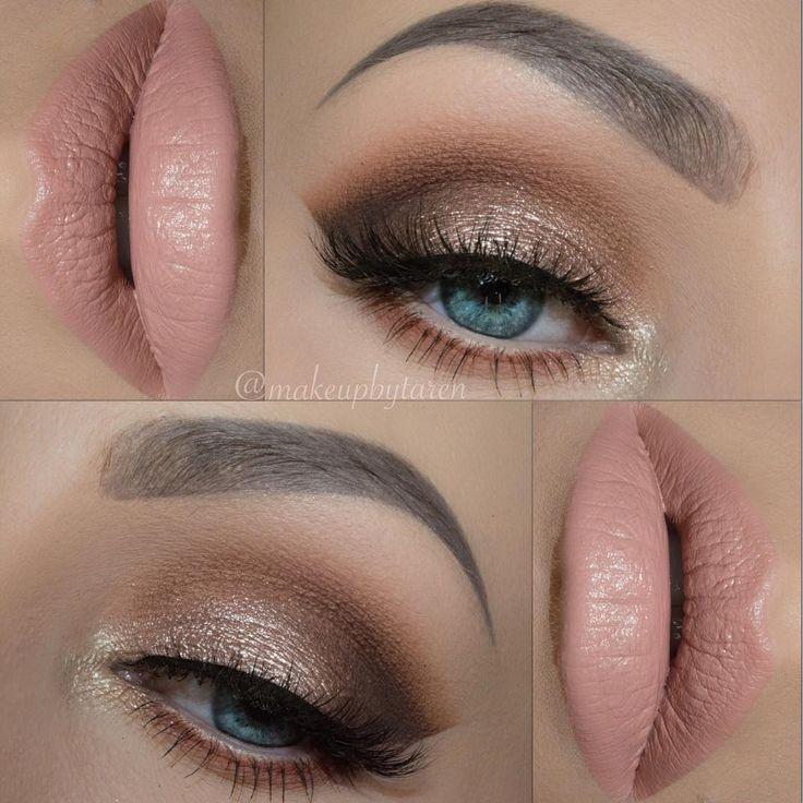 shimmery gold neutral eye w/ soft nude lips @makeupbytaren #makeup