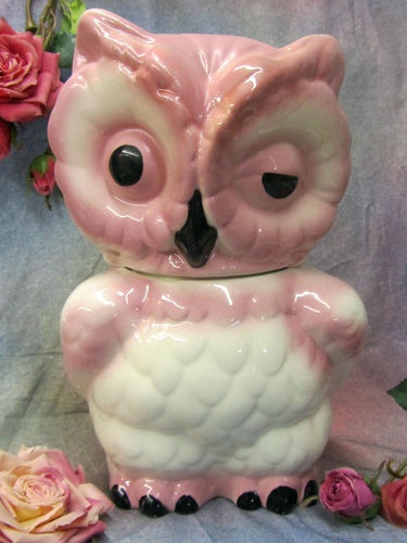 Vintage Art Pottery Pink Winking Owl Cookie Jar McCoy Ceramic Porcelain 11"