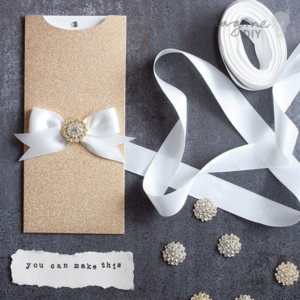how to make striking glittery wallet invitations - How To Make Your Own Wedding Invitations