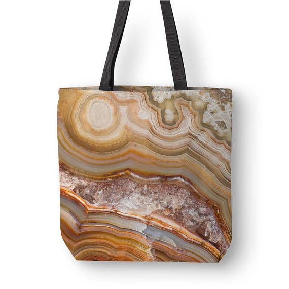 Crazy Lave Agate Tote Bag Art Mineral Photography Grocery