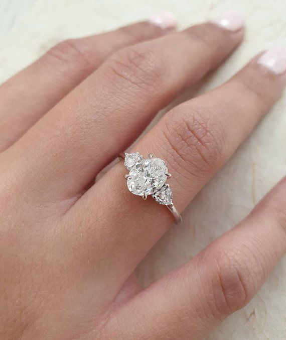 Oval Diamond Engagement Ring, 1.40 Carats with Baby Oval Shape Side Stones and Hidden Halo, 14k White Gold Diamond Ring, Engagement Ring