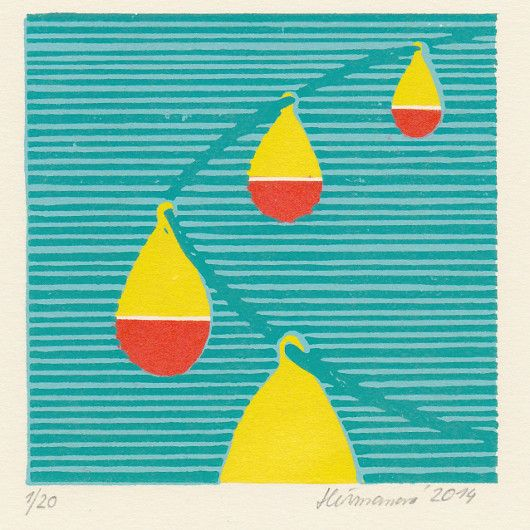Artistic handmade card from Barbora Heřmanová: Buoys. Color linocut.