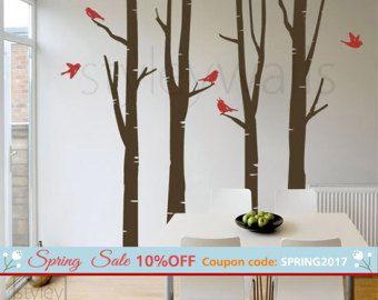 Berken bomen muur Decal Winter bomen muur Decal vogels cadeau vogels Vinyl muur sticker, kunst aan de muur decor, boom, muur stickers, Nursery kinderen decor
