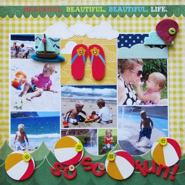 Summer Beach Layout...like the beach ball border and the flip-flops in the middle!