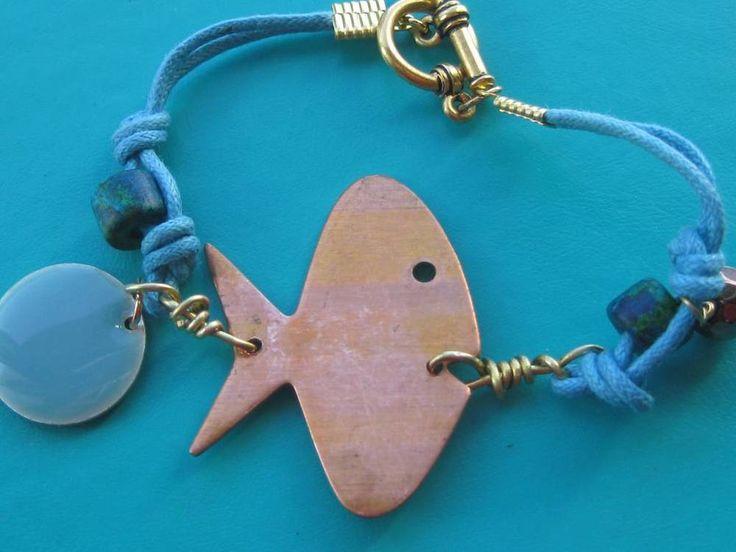 Vintage Copper Fish Bracelet Blue ceramic Greek beads handcrafted one of a kind