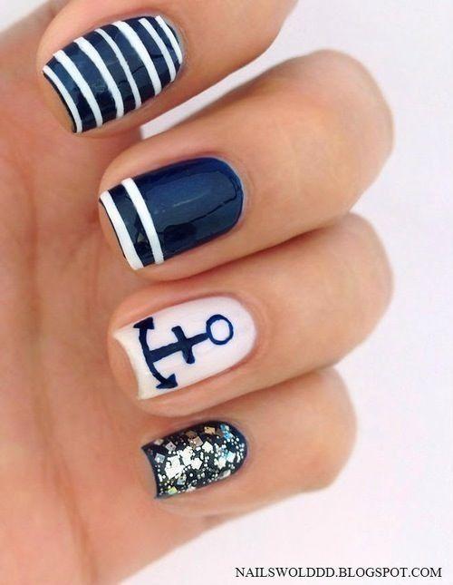 Anchor nail art. Stripes, glitter nails. Nail design. Polish. Polishes.