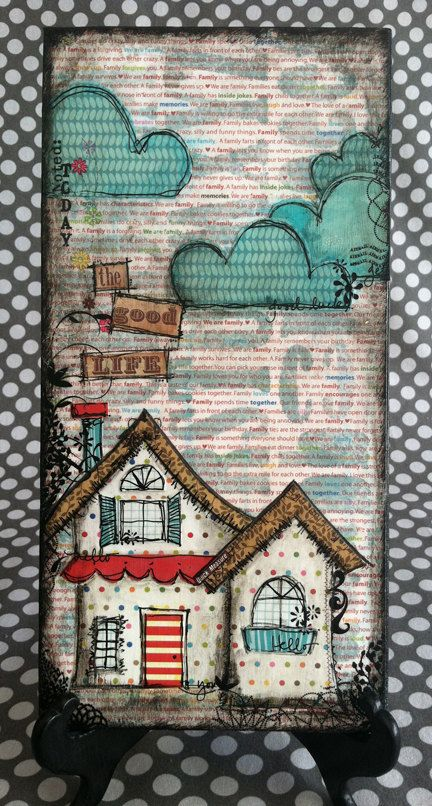 THE GOOD LIFE 6x12 Original Mixed Media Canvas by PaisleyLaneDS, $25.20. I never get enough houses in mixed media