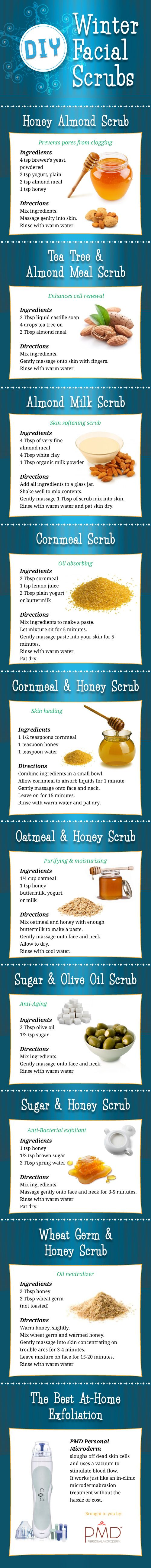 Winter Facial Scrubs: can be made with common ingredients at home, meaning less packaging and fewer chemicals