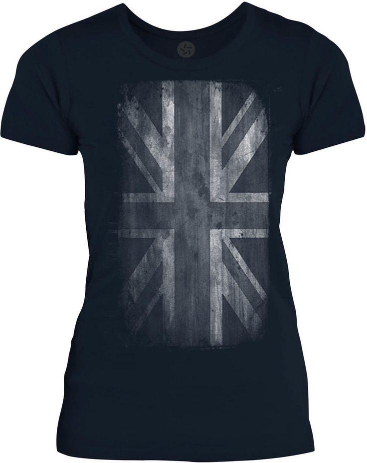 Big Texas Faded Union Jack (White) Womens Fine Jersey T-Shirt