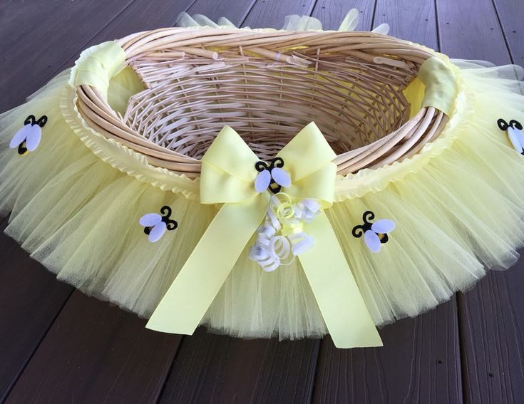 Great Medium Pale Yellow Bumble Bee Baby Shower Basket, Tutu Gift Basket, Tutu Baby  Shower Basket, Wedding Basket, Tutu Easter Basket, Newborn P