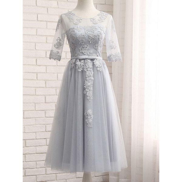 Gray Sheer Mesh Embroidery Lace Up Back Tulle Midi Prom Dress (135 BRL) ❤ liked on Polyvore featuring dresses, embroidered dress, tulle dress, lace up dress, lace up prom dresses and grey prom dresses