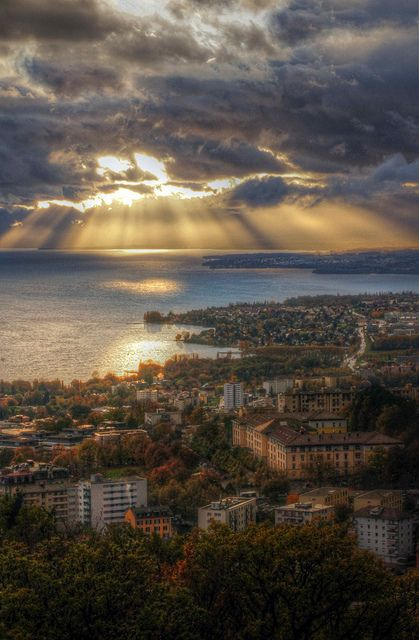 Autumn sunset, Lake Geneva, Switzerland