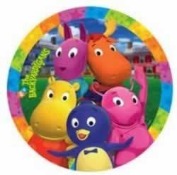 """PLT 8 3/4"""" BACKYARDIGANS by American Greetings. $3.99. Kids will love these beautiful plates!. Based on the popular Nickelodeon program The Backyardigans!. Great for parties!. 8 Lunch Plates. Ideal for all occasions!. Each package of The Backyardigans Lunch Plates includes 8 paper plates measuring 9"""" in diameter. The plates feature The Backyardigans and Nick Jr. logo along with the bright faces of Uniqua, Tasha, Tyrone, Pablo and Austin."""