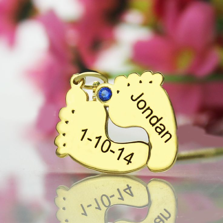 18ct Gold Plated Engraved Baby Feet Name Necklace with Birthstone