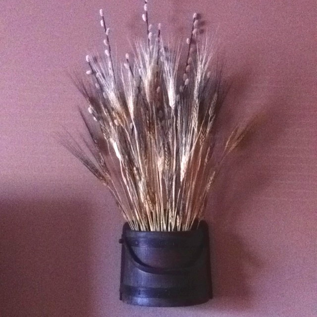 Wall barrel's I filled with family symbol wheat stalks. They look good on both sides of my tv stand