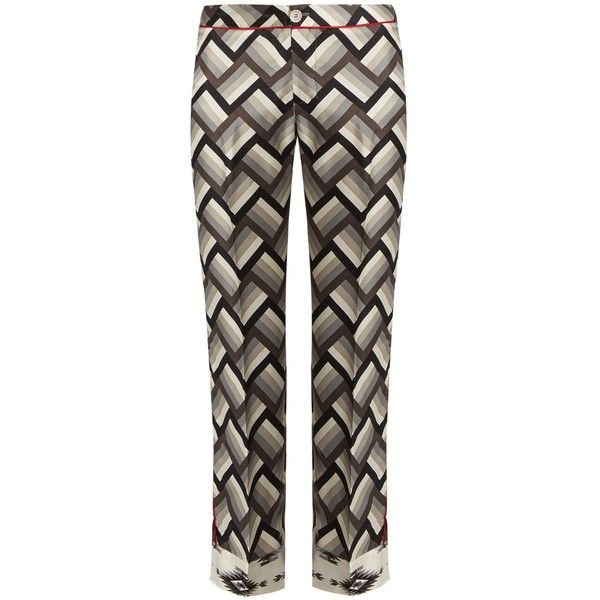 F.R.S Ceo chevron-print silk pyjama trousers ($383) ❤ liked on Polyvore featuring pants, straight pants, chevron pants, patterned pants, print pants and silk pants