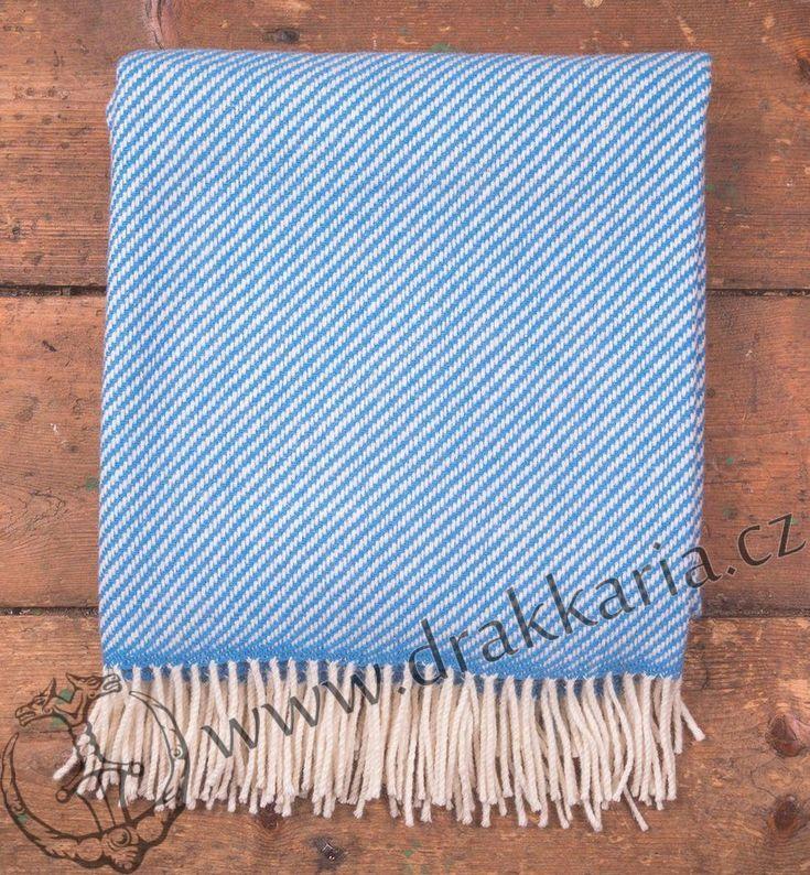 Blue & White Stripe, luxusní vlněná deka, Merino, Irsko